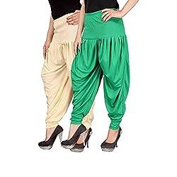 Navyataa Womens Lycra Dhoti Pants For Women Patiyala Dhoti Lycra Salwar Free Size (Pack Of 2) Cream & Green