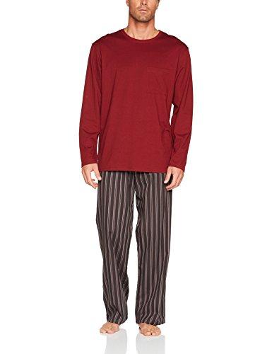 Seidensticker Herren Zweiteiliger Schlafanzug Anzug Lang Rot (Bordeaux 502)