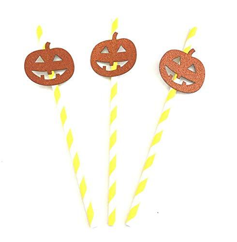 Sunshine D Halloween Strohhalme, 10 Stück Halloween Papier Strohhalme Trinkhalme Tischdekoration für Halloween Party Favors Supplies