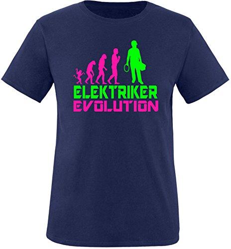 EZYshirt® Elektriker Evolution Herren Rundhals T-Shirt Navy/Pink/Neongr