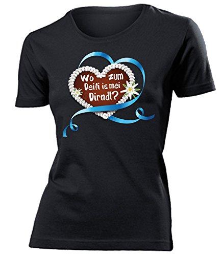 OKTOBERFEST - LEBKUCHENHERZ WO ZUM DEIFI IS MEI DIRNDL? 3348(F-SW)Gr. (T Trachten Shirt)