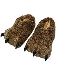 Cvbndfe Suave Personalidad Pata de Lobo Diseño Invierno Cálido Zapatilla de Interior Zapato Corto Botines Inicio…