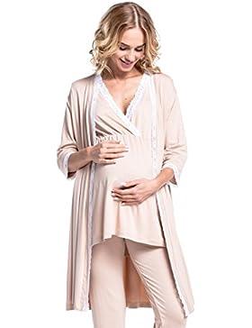 Happy Mama. Premaman Accappatoio maniche 3/4 vestaglia pizzo dettagli. 593p