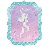 8 Einladungen * Schimmernde MEERJUNGFRAU * für Kindergeburtstag und Motto-Party   Einladungskarten Karten Umschläge Sirene Nixe Fantasy Ozean Meer Mottoparty Kinder Geburtstag Deko Dekoration