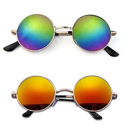Mangotree 2 Paar Unisex Kinder Sonnenbrille Hippie Kleine Linse Runde Sonnenbrille für Mädchen & Jungen (3 ~ 12 Jahre Alt) UV Schutz Mode Retro Hipster Brillen (Free Size, Bunt + Lila Rot)
