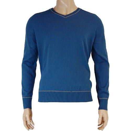 Mens F&F V-Neck Blue Medium 100% Acrylic Long Sleeves Winter Jumper Top Sweater