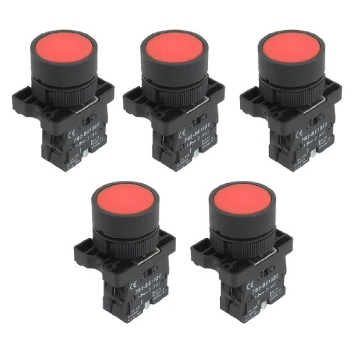 Aexit 1NC N/C Red Sign Momentary Push Button Switch, 600V, 10Amp, zb2-ea42, 5x 22mm