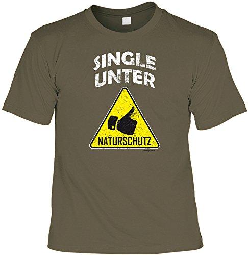 Goodman Design  Lustiges Flirt Sprüche T-Shirt für Singles : Single/Single unter Naturschutz Party Funshirt Gr: M Farbe: Khaki
