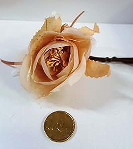 Set 12 pezzi, Bomboniera bouquet fiore stoffa x segnaposto, PORTACONFETTI (ck1523) CIPRIA-BEIGE