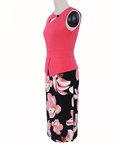 Damen Vintage-Ausschnitt Kontrast Blumen Abendkleid Rose