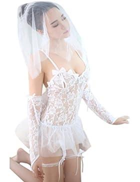 [Patrocinado]OverDose conjuntos de lencería erotica mujer seductive traje de la novia top + vendajes + mantilla + G-string