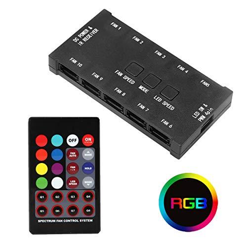 JUSTOP 10Ports RGB contrôleur de Ventilateur de Refroidissement du boîtier pour PC avec télécommande contrôle jusqu'à 106-pin Ventilateurs à LED Couleurs RVB