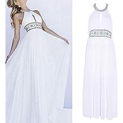 KINTRADE Vestido Blanco Puro de la Playa Bohemia Pura Vestido Floral con Hombros Descubiertos Vestido Largo de Gasa Plisada Verano