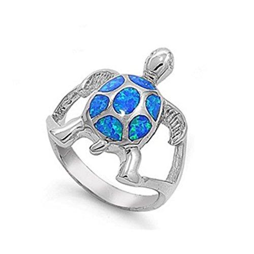 Ring aus Sterlingsilber mit Lab Opal - Schildkröte (Männer Gold Stein Für 14k Ring Blau)