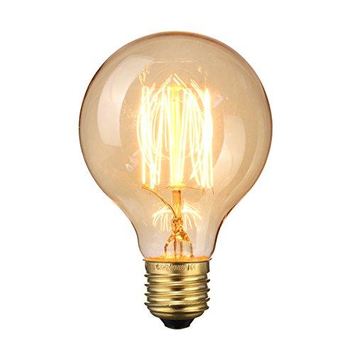 Elfeland G80 60W Edison Lampadina Vintage Retro Stile Grande lampadina Globo con gabbia di luce filamento della lampadina tappo a vite E27 per Casa Light Fixtures Decorativo