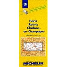 Carte routière : Paris - Reims - Châlons-en-Champagne, 56, 1/200000
