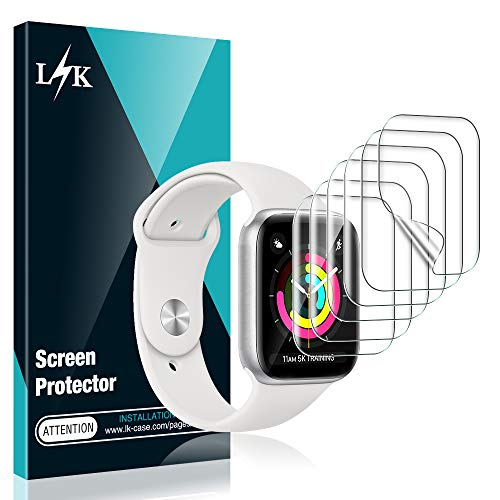 L K 6 Stücke Schutzfolie für Apple Watch 38 mm Series 1/2/3, HD klar Flexible TPU Folie [Blasenfreie][Kompatibel mit Hülle][Premium-Qualität] [Einfache Installation] Displayschutzfolie