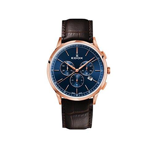 EDOX Men's Chronograph Quartz Watch with Leather Strap 10236-37RC-BUIR