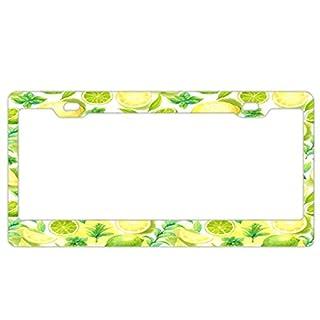 Barnettplate frames Nummernschildrahmen schwarz Kennzeichenrahmen Slim 2 Loch Halterung Standard Größe für US Fahrzeuge, Citrus Lemon