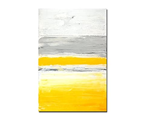 120 x 80 CM Wall Painting Colours Yellow / Grey Abstract Canvas Art Print on Stretcher Frame modern Stylish pictures and ornaments