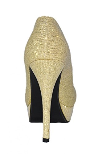 Elara Plateaupumps | Damen Glitzer Stiletto High Heels | Party Pumps Gold