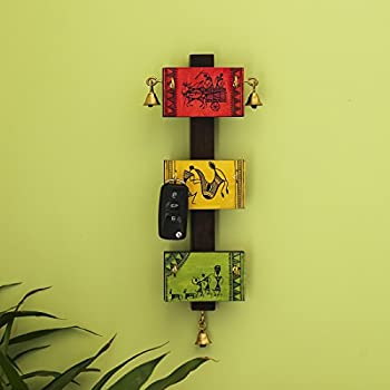 ExclusiveLane 'Panels of Paintings' Warli Hand-Painted Key Hanger Stand for Home Cum Wall Decorative Wooden Key Holder (Multicolor)