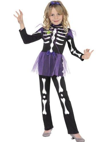Kinderkostüm Kostüm für Kinder Halloween Fasching Karneval schwarzes Halloweenkostüm lila Tütü Tutu Skellet Skelletkostüm Skellie Punk Kostüm schwarz weiß lila Gr. 110-122 (S), 128-134 (M), - Spider Girl Kostüm Mit Tutu