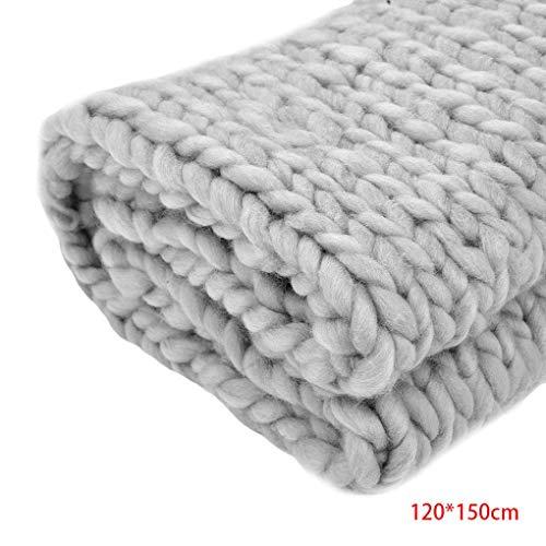 Babysbreath17 Handgemachte Starke Knitting Linie Geflochtene Teppich Schlafzimmer Teppich Kids Soft-Nap Blanket für Fotografie Props Gray 120 * 150cm (Teppiche Kid)