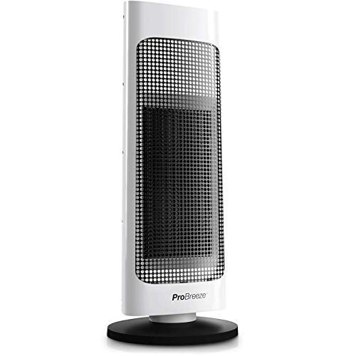 41ZY52cW%2BFL. SS500  - Pro Breeze® 2000W Ceramic Tower Fan Heater with Automatic Oscillation, Built-in Thermostat & 2 Heat Settings