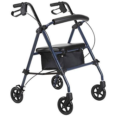 HOMCOM Rollator Gehhilfe Laufhilfe für Senioren höhenverstellbar faltbar mit Bremsen und Einkaufstasche Stahl + PVC Blau + Schwarz 64 x 57,8 x (74,4-95) cm -