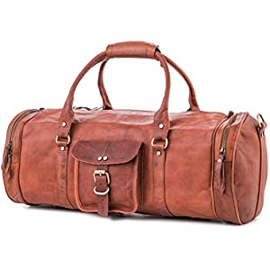 Berliner Bags Weekender Texas L Reisetasche Handgepäck Sporttasche aus Leder Vintage Damen Herren Braun Rund 55 cm 35 l