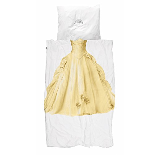 Snurk Bed Linen Princess Gold Dress Percale, 100% Cotton, Gold, 135 X 200 Cm + 80 X 80 Cm