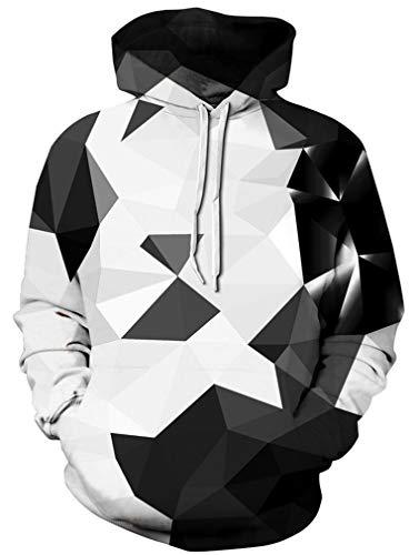 Ocean Plus Herren Kapuzenpullover Lebensecht 3D Grafik Hoodie mit Kängurutasche Pullover mit Kapuze Sweat Hood (S/M (Brustumfang: 112-132CM), A-Geometrisches Schwarzweiß)