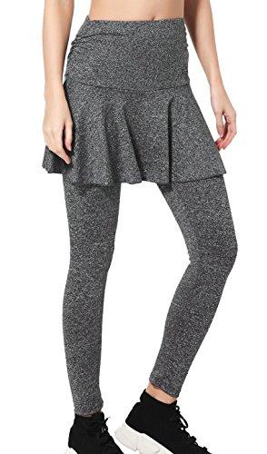 Wantdo Damen Yoga Hosen 2 in 1 Weiche Leichte Bauchkontrolle Leggings Sporttights Tanz und Zumba Grau - 360 Zumba