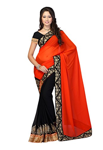 Fabdeal bollywood Designer Faux Georgette Chiffon Black Embroidered Saree Sari Sarees Faux Georgette Saree