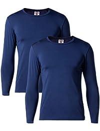 LAPASA Uomo 2 Pack T-Shirt Termica Mid Weight- Ti Tiene al Caldo Senza Stress - Maglia Invernale a Maniche Lunghe M55