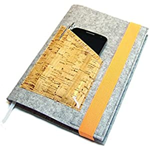 Kalenderhülle Hülle Einband Wollfilz Filz Kork beschichtet für Din A5 Buchkalender, Notizbuch