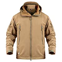 ReFire Gear Mens Army Special Ops Military Tactical Jacket Softshell Fleece Hooded Outdoor Coat,Khaki,X-Large