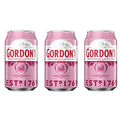Gordons Premium Pink Distilled Gin & Tonic, 3er, Alkohol, Alkoholgetränk, Mixgetränk, Dose, Einweg, 10{ea02d4fd4a1bbbb23a023d2b317ea9ce9bbb9deae0580c6e6e21190ac43a3067}, inkl. Euro 0,25 DPG Pfand, 330 ml, 742486