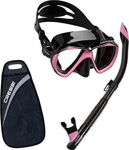 Cressi Ranger & Tao Semi-Dry - Combo Set Máscara y Snorkel, Unisex, Negro/Rosa