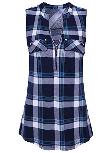 Amrto Damen Tank Tops Sommer Ärmellose Shirts V-Ausschnitt Bluse Shirt Tops mit Reißverschluss, Blaues Plaid XXXL