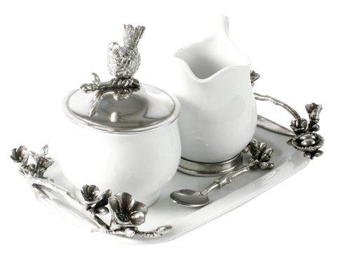 Vagabond House Milchkännchen-Set aus Steingut, mit Milchkännchen, Zuckerdose und Löffel, 31 cm lang Aluminium-creamer