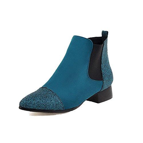VogueZone009 Donna Scarpe A Punta Tacco Basso Bassa Altezza Puro Stivali con Lustrino Azzurro