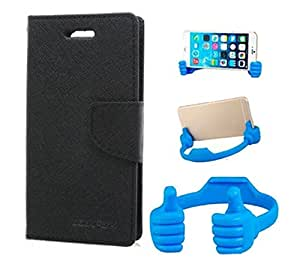Aart Fancy Wallet Dairy Jeans Flip Case Cover for Micromax-Q372 (Black) + Flexible Portable Mount Cradle Thumb OK Designed Stand Holder By Aart Store.