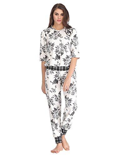 Clovia Women Floral Print Full Length Top & Pyjama Set - White