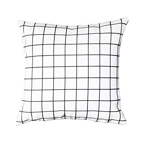 BreezyLife Kissenbezug, kariert, geometrisch, dekorativ, für Sofa, Couch oder Landhaus 18x18 weiß -