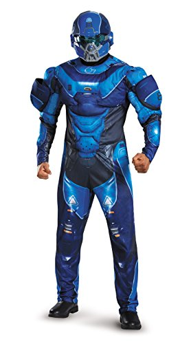 Disguise Men's Halo Spartan Muscle Costume, Blue, (Kostüm Halo Spartan)