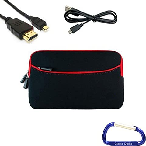Gizmo Dorks Soft Neoprene Zipper Case (Black with Red Trim), Micro USB Cable, and HDMI Cable with Carabiner Key Chain for the Acer Iconia Tab A100