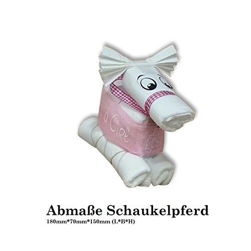 Windeltorte Taufe Geburt Windeln HilKeys Mädchen Junge rosa blau Geschenk Baby (2 (3-6kg ) Schaukelpferd rosa) - 2