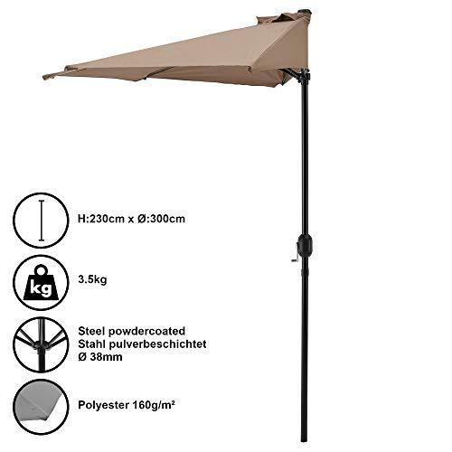 [casa.pro]® Halbschirm Halb-Sonnenschirm Balkonschirm Marktschirm Kurbelschirm Schirm Halbrund Beige / Ø300cm H230cm / 3,5kg / Stahl/Polyester 160g/m²